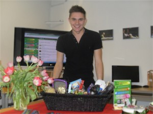 Ben Harrison with the Pamper Hamper