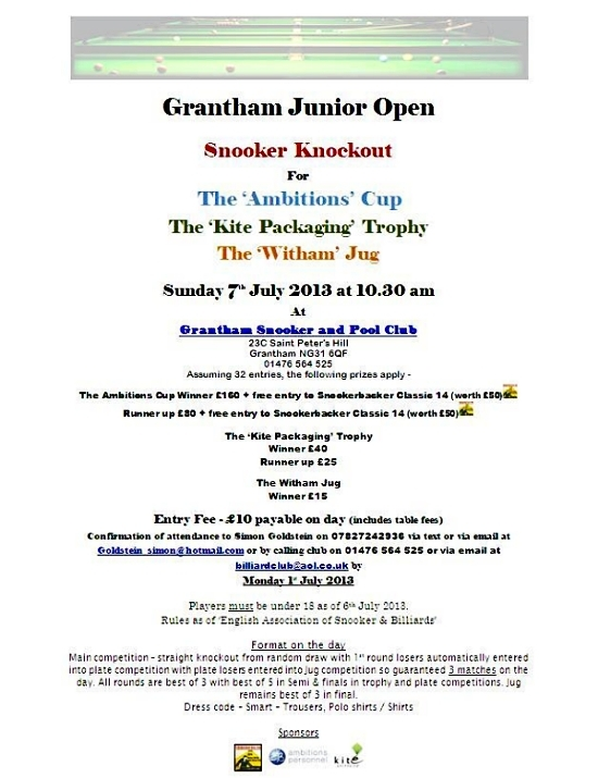 Grantham Junior Snooker