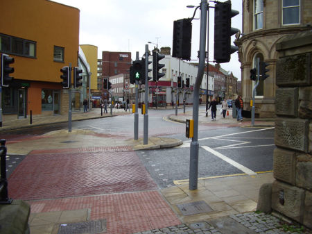 Barnsley has modern traffic lights in some areas.